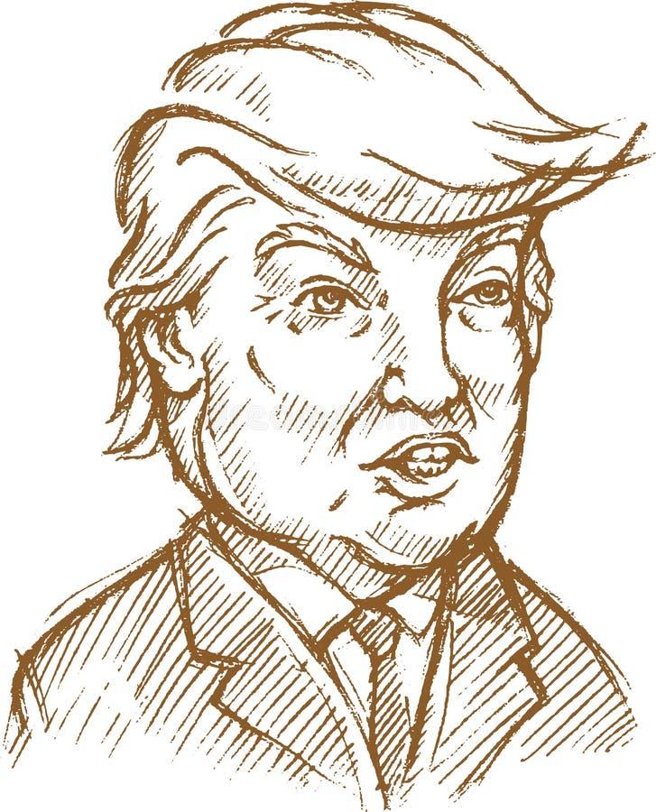 abril 5,2017: Um esboço da caricatura do 45th presidente de U S A Donald John Trump ilustração royalty free