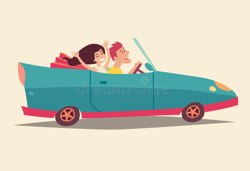 Abriolet del ¡de Ð con la gente feliz Vacaciones de verano, familia del personaje de dibujos animados stock de ilustración