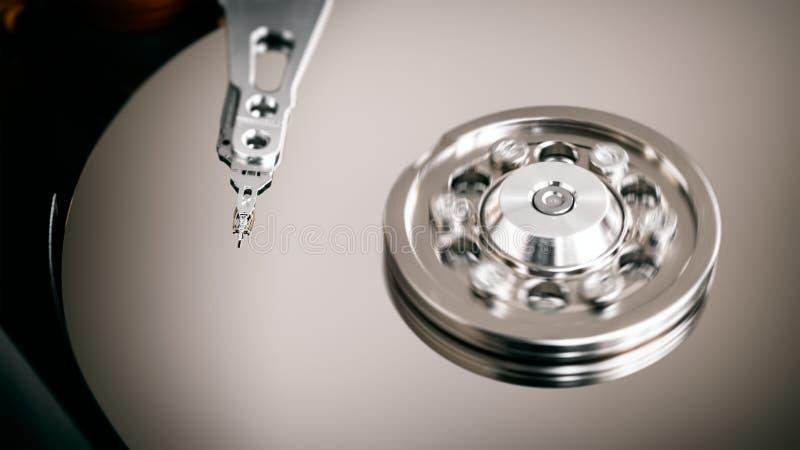 Abrir unidad de disco duro, plataforma y cabezal para equipos foto de archivo