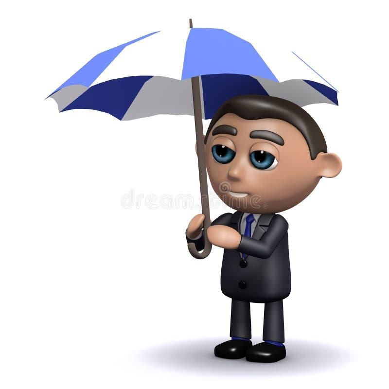Download Abris Du Vendeur 3d Sous Son Parapluie Illustration Stock - Illustration du monsieur, affaires: 45350046