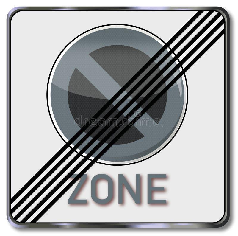 Abrogation de poteau de signalisation d'une zone de stationnement illustration libre de droits