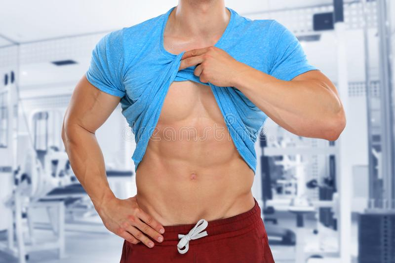 Abs abdominal muscles six pack gym bodybuilder bodybuilding. Fitness studio stock photos