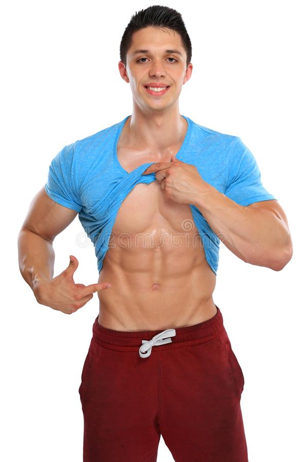 Abs abdominal six pack muscles bodybuilder bodybuilding flexing. Showing man isolated on a white background royalty free stock image