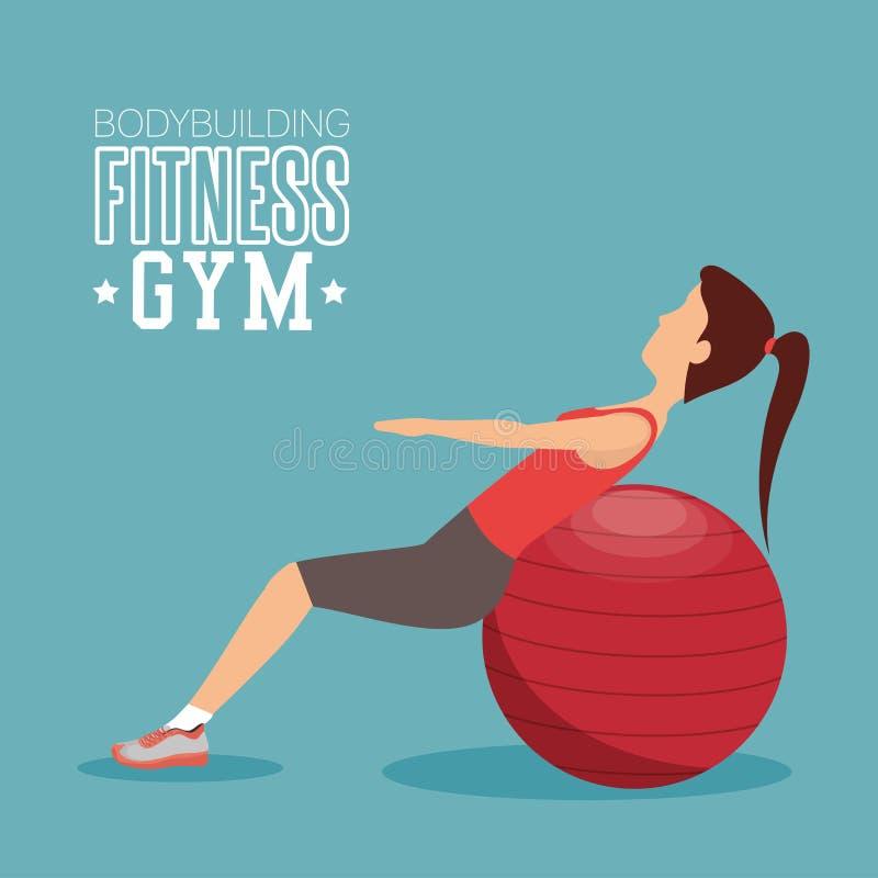 ABS di addestramento della donna con forma fisica della palla della sfera illustrazione vettoriale