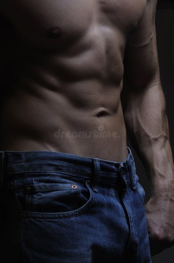 Abs e calças de brim imagens de stock