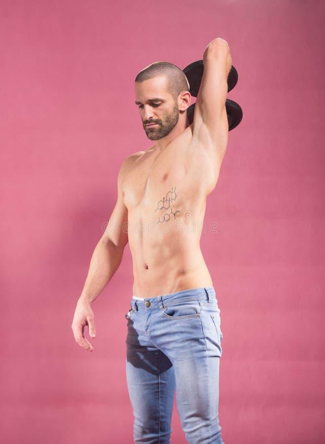 Abs för triceps för manhantelarm shirtless royaltyfria bilder