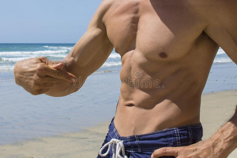 Abs masculino natural da praia fotografia de stock royalty free