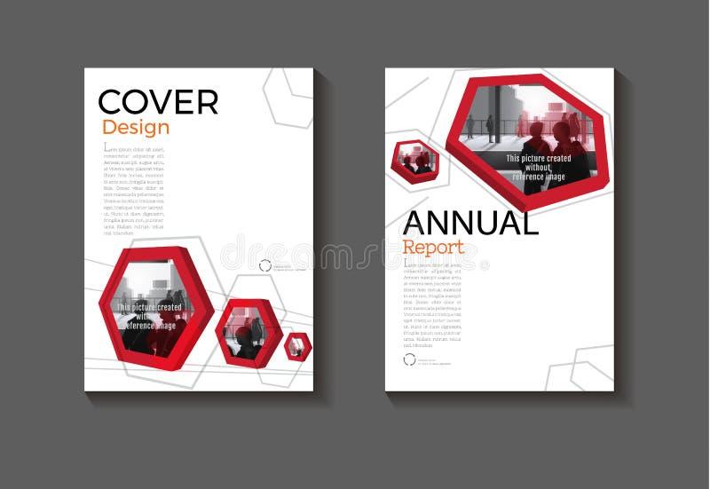 ABS moderno de la cubierta de libro del hexágono del fondo del diseño moderno rojo de la cubierta stock de ilustración