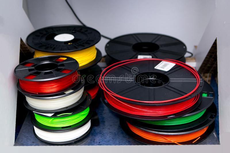 Color ABS plastic for the 3D printer royalty free stock image