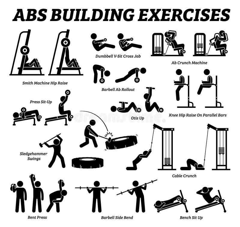 ABS- und Unterleibsgebäudeübung und errichtende Stockzahl Piktogramme des Muskels stock abbildung