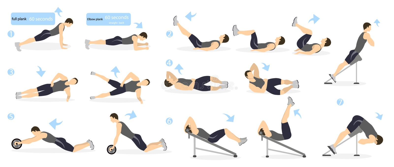 Abs workout for men. vector illustration