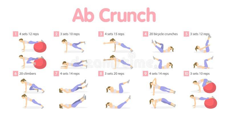 Abs workout set. stock illustration