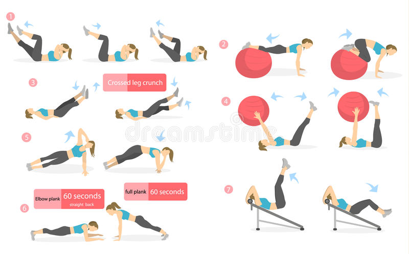 Download Abs Workout For Women Stock Vector Illustration Of Infographic