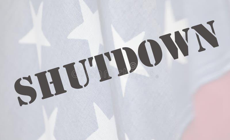 Abschaltungswort auf amerikanischer Flagge stockfotos