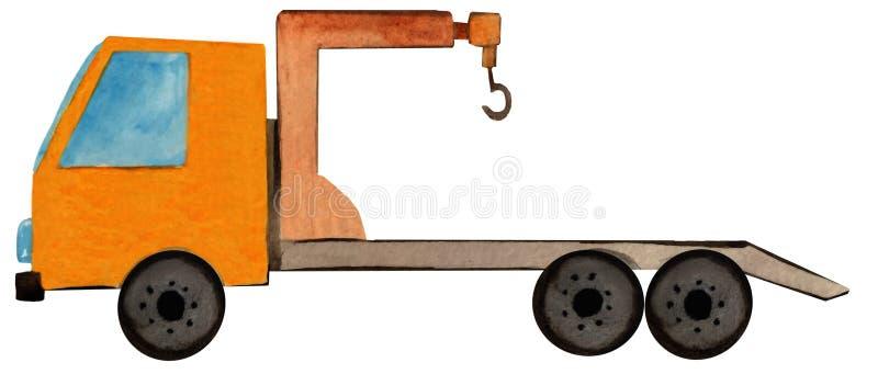 Abschleppwagen mit einem Kran auf einem wei?en Hintergrund Aquarellillustration für Plakatentwurf, Tapete, Plakate lizenzfreie abbildung