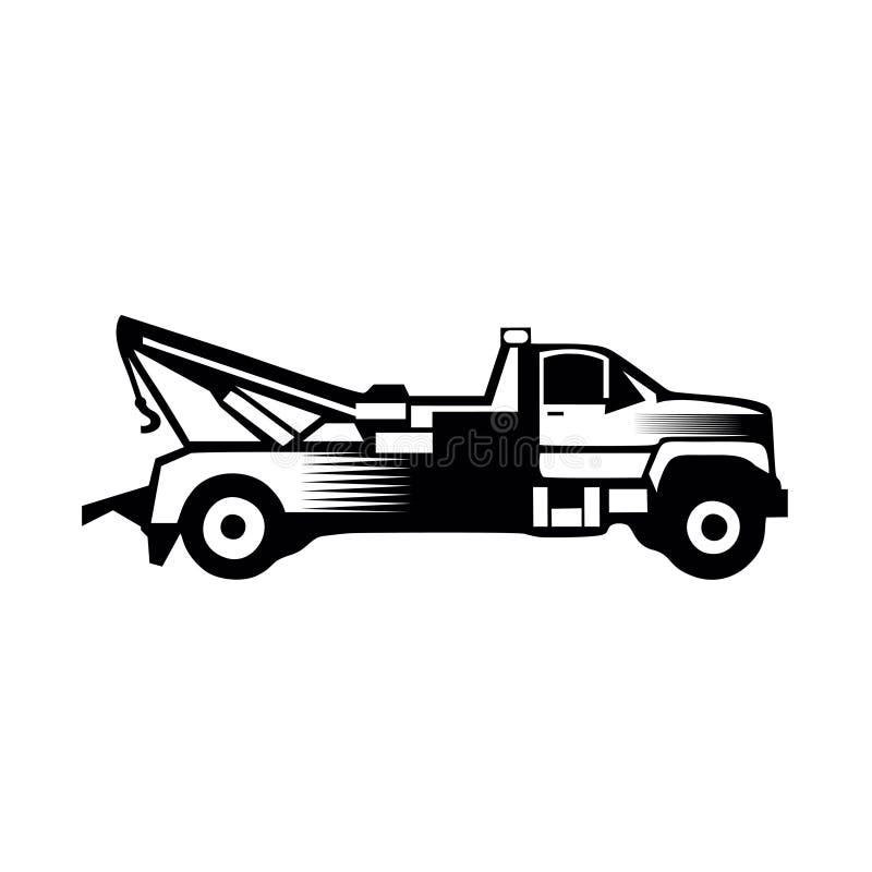 Abschleppwagenikonenvektor füllte das feste lokalisierte Piktogramm des flachen Zeichens stockbild