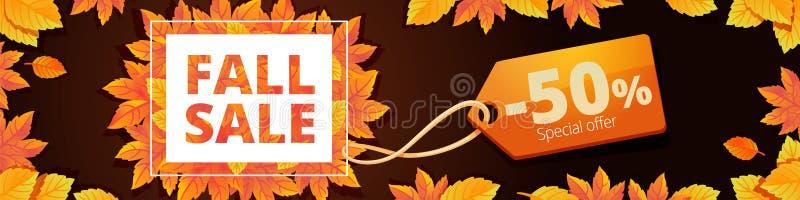 Abschließende Verkaufsfahne des Herbstes horizontal, Karikaturart vektor abbildung