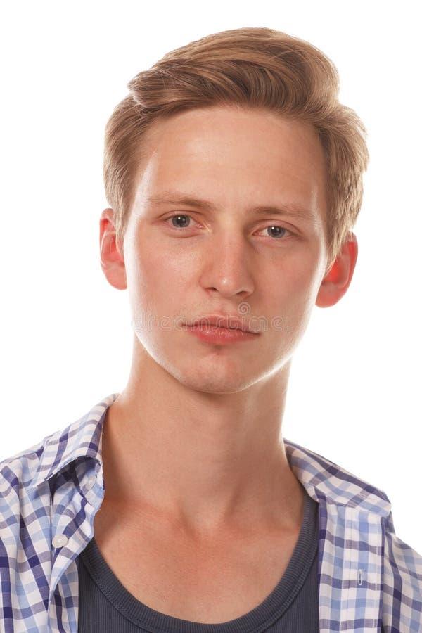 Abschluss des jungen Mannes herauf Portrait lizenzfreies stockbild