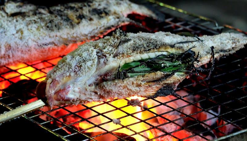 Abschluss grillte oben neue fishs mit Salz, köstlicher frischer Fisch an der Landschaft im Feiertag, gesundes Lebensmittel lizenzfreies stockbild