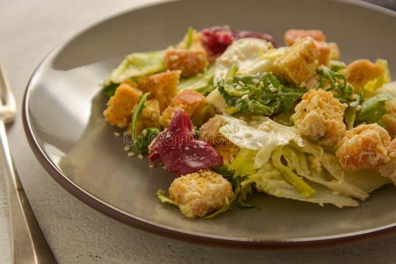 Abschluss herauf Caesar-Salat mit Croutons und Behandlung Gesunde Nahrungsmittel lizenzfreies stockbild
