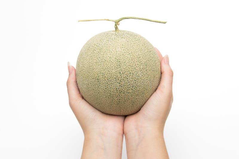 Abschluss herauf Hände halten Melone auf Weiß lokalisiertem Hintergrund lizenzfreie stockfotografie