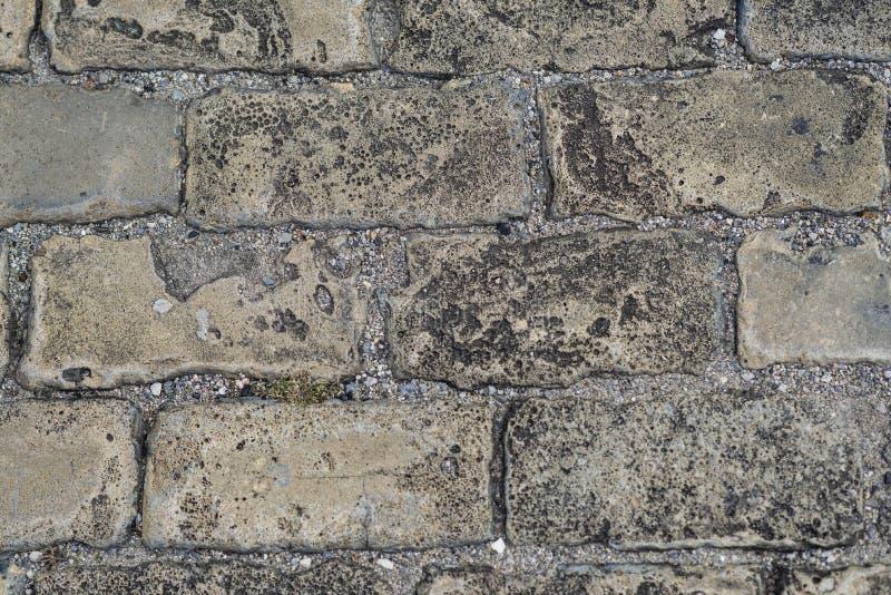 Abschluss herauf Steinpflasterungsansicht von der Spitze Draufsicht der Steinpflasterung, Beschaffenheit Cobblestoned Plasterungs lizenzfreie stockbilder