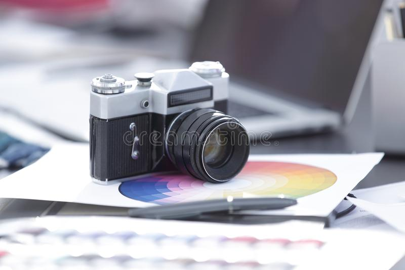 Abschluss oben Alter Retro- Sowjet der Filmkamera 35mm stockbilder