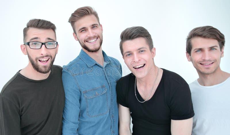 Abschluss oben eine Gruppe glückliche Kerle lizenzfreies stockfoto