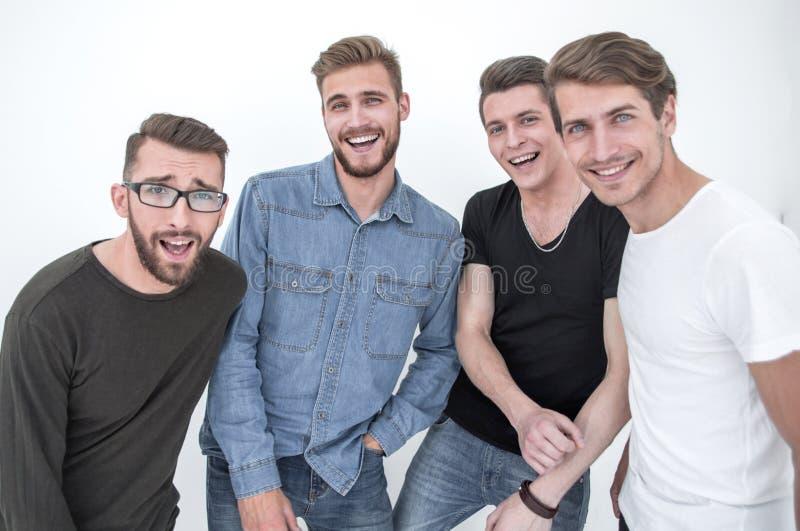 Abschluss oben eine Gruppe glückliche Kerle stockbilder