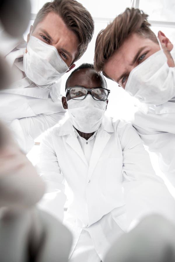 Abschluss oben eine Gruppe Wissenschaftler, wissenschaftliche experimen leitend stockfotos