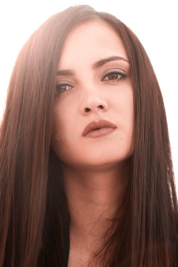 Abschluss oben Porträt einer jungen erfolgreichen Frau stockfoto