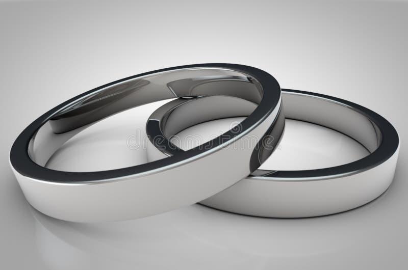 Abschluss oben von 2 Shinny silberne Ringe auf grauem Hintergrund lizenzfreie abbildung