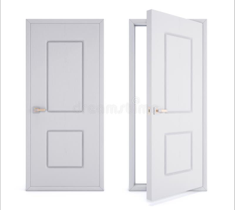 Abschluss und offene Tür lokalisiert auf weißem Hintergrund 3D Wiedergabe I vektor abbildung