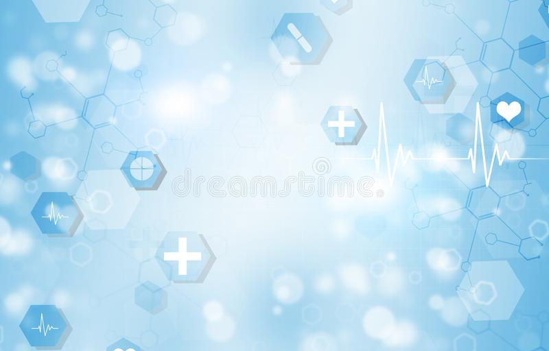 Absctract Medical background. Abstract technology and science medical blue illustration with icons and heart ecg royalty free illustration