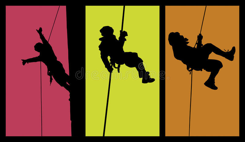 Abseiling Acrobat. Silhouettes of a person performing acrobatic styles in air. Vectorized. Isolated with bright colors