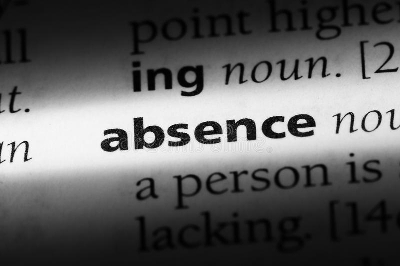 Absence. Word in a dictionary.  concept stock photography