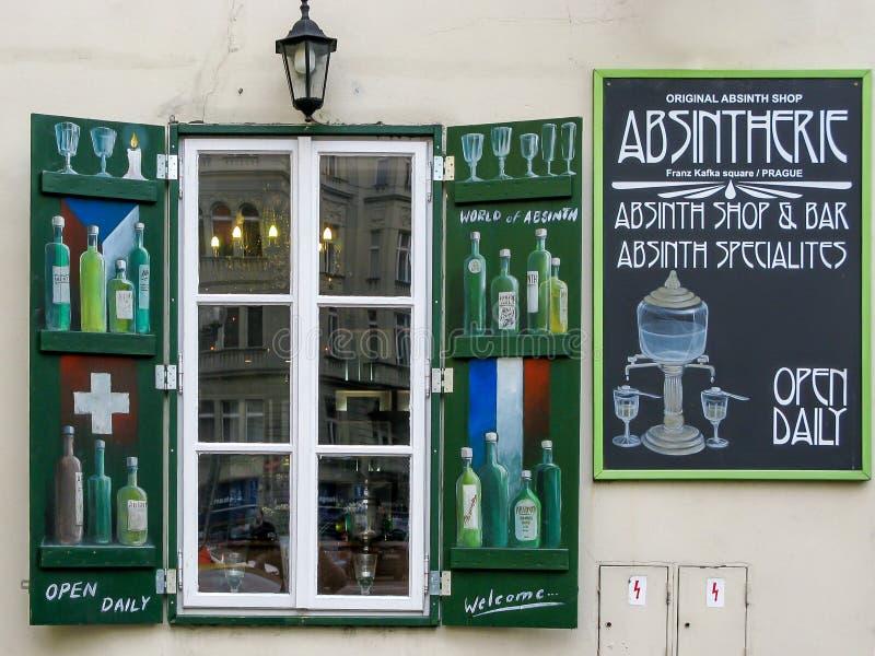Absinth Shop in Prague stock photo