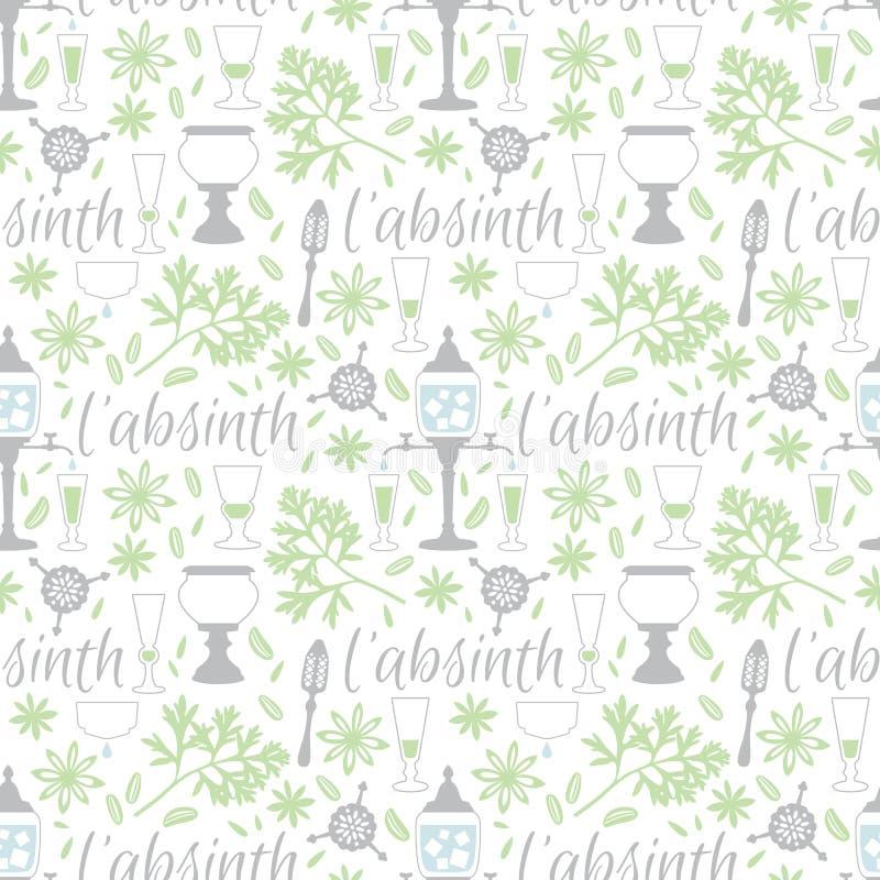 Absinthe accessories seamless pattern vector illustration