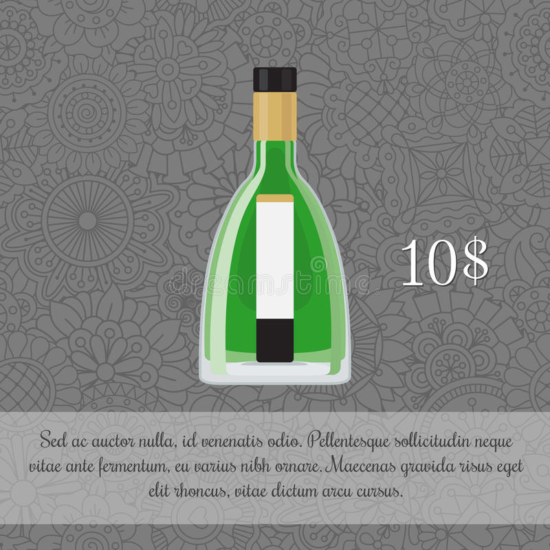 Absinthe alcoholic beverage card template royalty free illustration