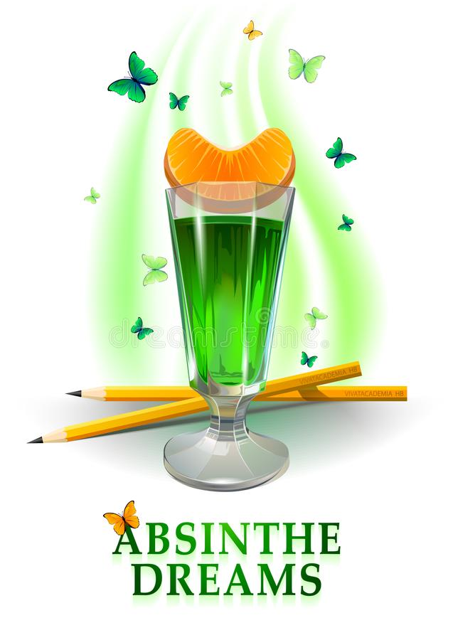 Glass of absinthe illustration. Orange and pencils. royalty free illustration