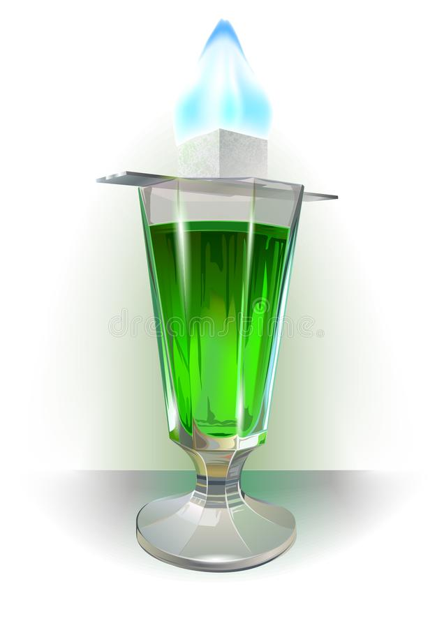 Glass of absinthe illustration. Blue flame above. royalty free illustration