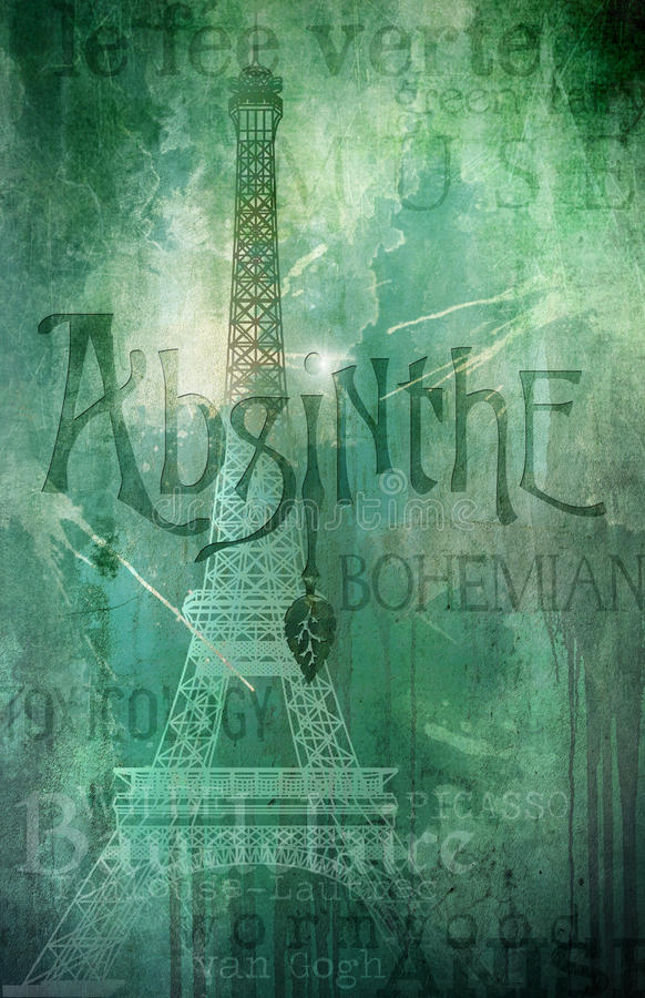 Absinthe le fee verte Background. Rustic French background of Le fee verte known as Absinthe, the green fairy that bohemian artists drink to conjure inspiration royalty free illustration