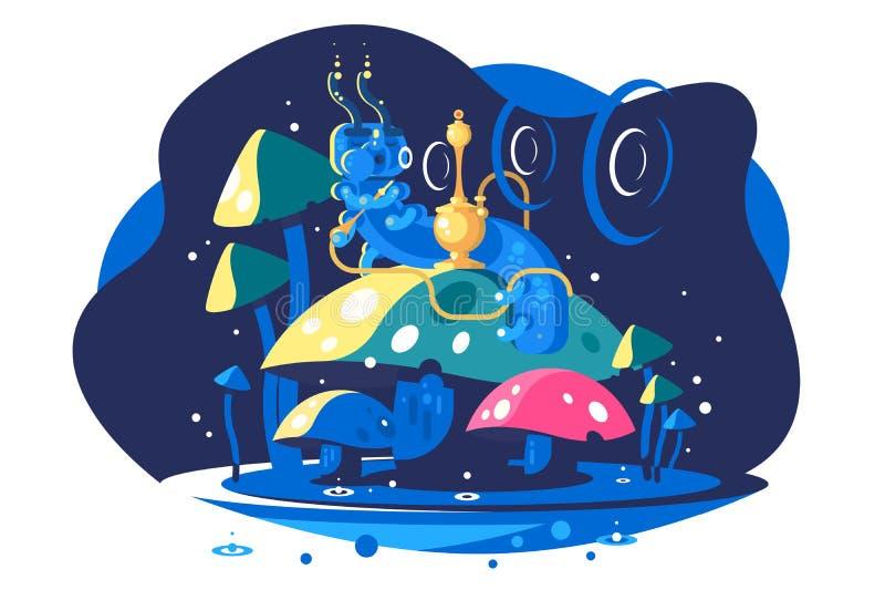 Absolem de Alice Adventures no país das maravilhas ilustração stock