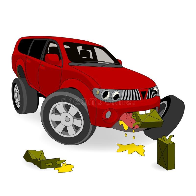 Absolument aucun l'économie du combustible Le grand gros buveur SUV de gaz de bande dessinée mange l'essence Illustration de vect illustration libre de droits