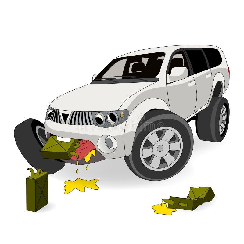 Absolument aucun l'économie du combustible Le grand gros buveur SUV de gaz de bande dessinée mange l'essence Illustration de vect illustration stock