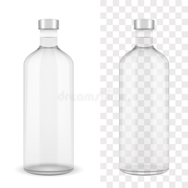 Absolut clear vodka bottle. On white and transparent EPS10 vector illustration