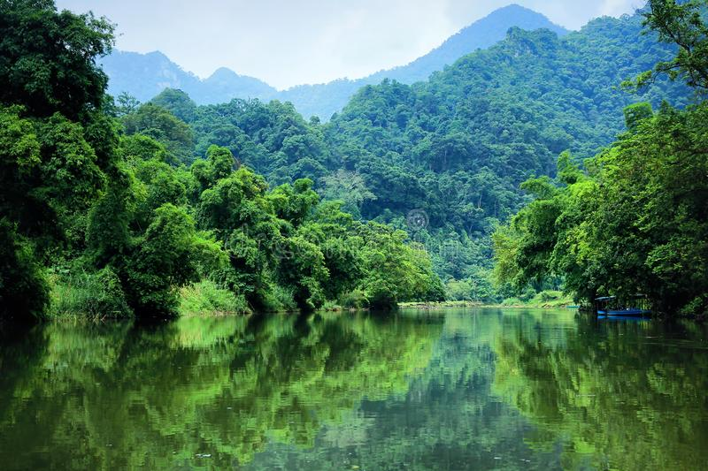An absolute tranquil setting of heavenly water. Ba Be Lakes, Bac Kan Province, Vietnam stock photos