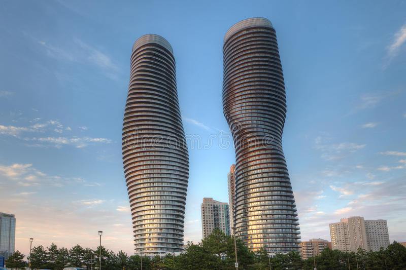 The Absolute World, condominiums found in Mississauga, Canada. Commonly known as the Marilyn Monroe buildings stock photography