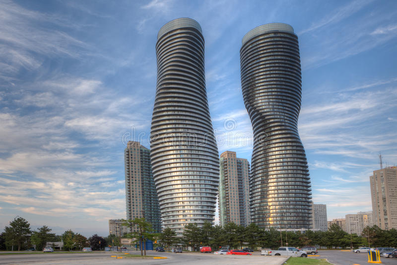 The Absolute World, futuristic condominiums found in Mississauga, Canada. Commonly known as the Marilyn Monroe buildings royalty free stock photo