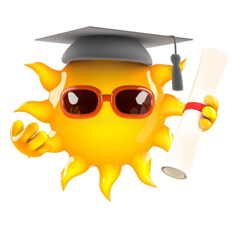 Absolvent 3d Sun stock abbildung